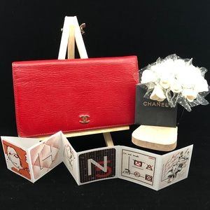 CHANEL red leather gold CC long wallet
